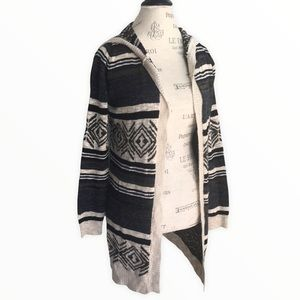 PINK ROSE Open Hooded Knit Cardigan Blue Cream